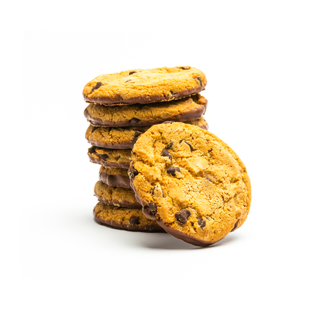 famine: tower of chocolate cookies isolated on white background