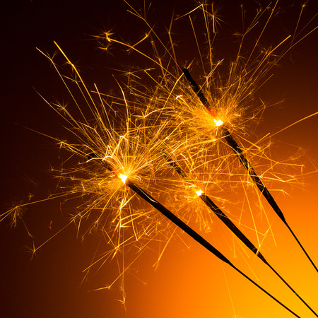 glow pyrotechnics: group of sparkler for new year Stock Photo
