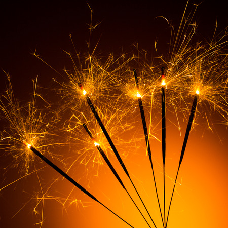 glow pyrotechnics: Sparklers for new year Stock Photo