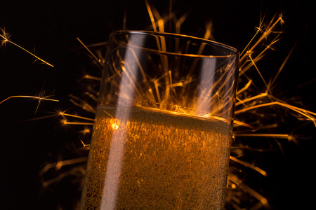 champagne glass with Ignited Sparkler