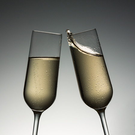 christmas profits: Toast with champagne glasses on new year´s eve.