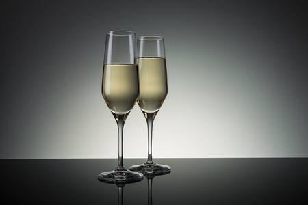 birthday champagne: two champagne glasses for new year´s eve.