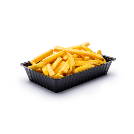 french fried potato: shell of french fries on isolated on white background