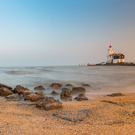 marken: Lighthouse at paard van Marken in the Netherlands Stock Photo