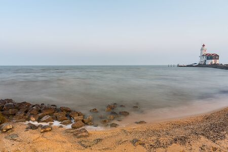 north holland: lighthouse a the Netherlands coast in marken