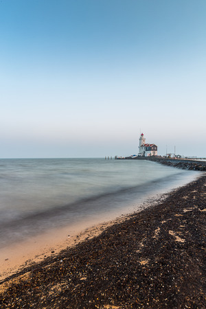 marken: lighthouse at marken in the Netherlands Stock Photo