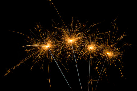 sparklers: group of sparklers for new year