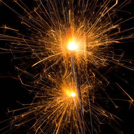 glow pyrotechnics: close-up from fireworks sparklers