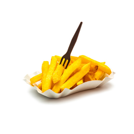 greasy: shell of french fries with plastic fork isolated on white Stock Photo