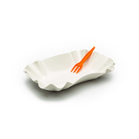 empty french fries cup with orange plastic fork isolated on white background photo