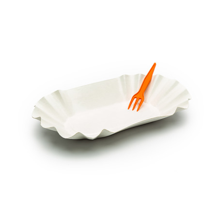 fries paper shell with plastic fork isolated on white photo