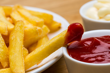 french fries plate: plate with fries ketchup and mayo Stock Photo