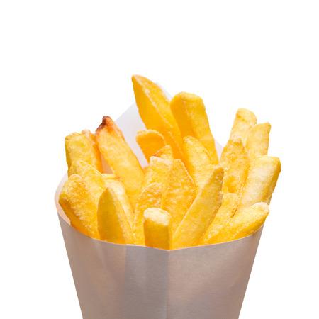 comida alemana: bolsa de papas fritas aislados en blanco