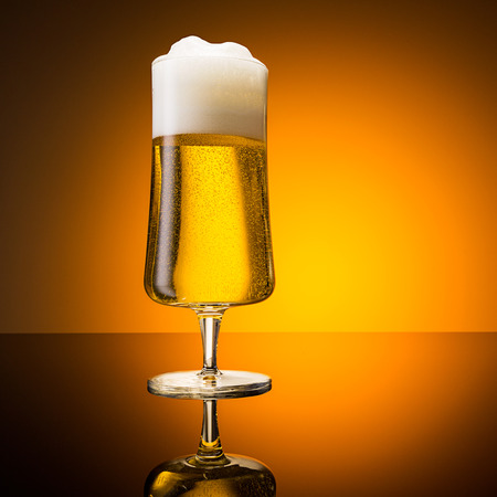 beer tulip: german beer glass with a froth crown Stock Photo
