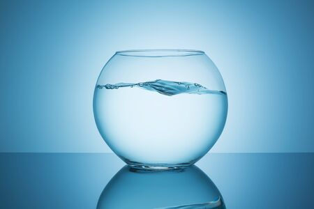 fishbowl: fishbowl with wavy water surface on blue background Stock Photo