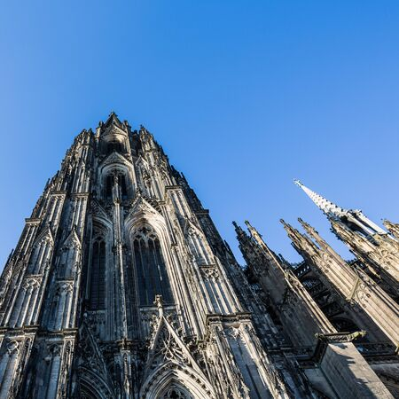 rhine westphalia: Cathedral of cologne in summer on blue sky