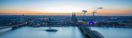 city of cologne in germany at dusk panoramic view