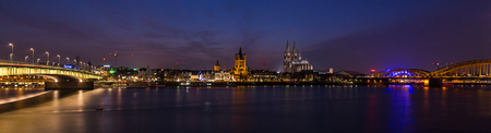 rhine westphalia: Cologne at Night with Skyline and cathedral