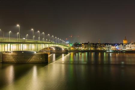 rhine westphalia: Deutzer bridge in cologne city germany at night Stock Photo