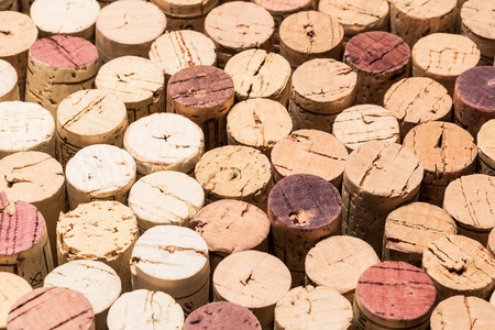 wines: Old used wine corks from different wines.