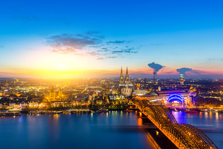 view at sunset of cologne city in germany