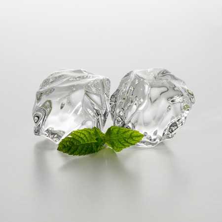 group of two chunks of ice with mint leaf