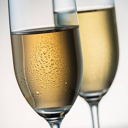 condensation: group of two champagne glasses with condensation drops Stock Photo