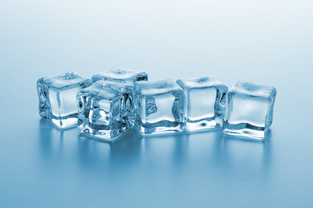 roup of cold clear ice cubes