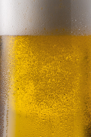 froth: cold german beer with condensation drops and froth crone