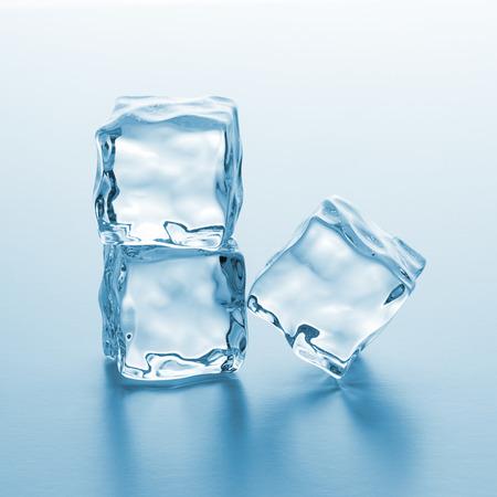 icecubes: heap of three cold ice cubes Stock Photo