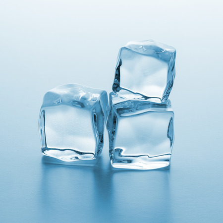 icecubes: Three clear ice cubes pile on blue gradient background