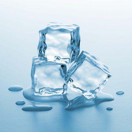 pile of melting ice cubes on gradient background