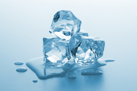 icecubes: heap of ice cubes with melt water Stock Photo