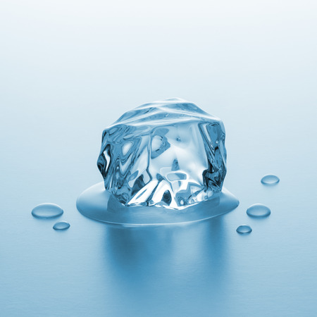 icecubes: ice chunck is melting with drops of water Stock Photo