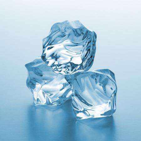 icecubes: pile of three cold ice cubes Stock Photo