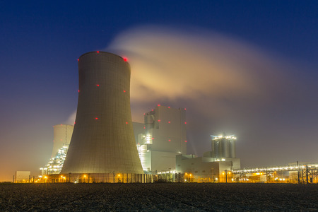 coal fired: coal power station in germany at a foggy day in the night