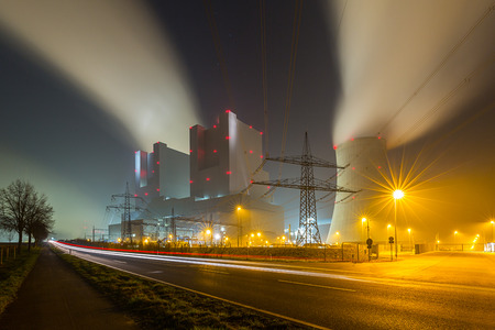 coal fired: power plant in germany at night with lighttrails Stock Photo