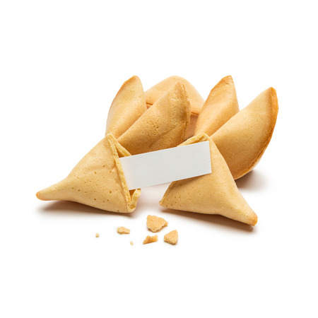 A group of fortune cookies with Note and crumbs on white background Stock Photo - 40885486