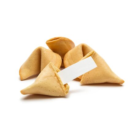 fortunately: A group of Asian fortune cookies with note on white background