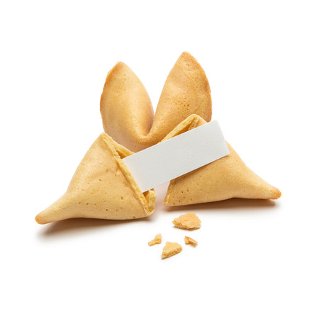 fortunately: Two Fortune Cookie with crumbs and note isolated on white background