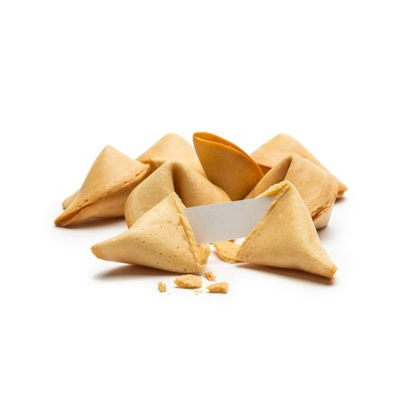 fortunately: A group of fortune cookies with a note on white background