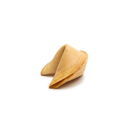 cookies: A single fortune cookie isolated on white background