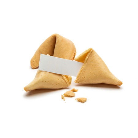 fortunately: Two fortune cookies with note isolated on white background