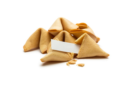 fortunately: A pile of asian fortune cookie with note isolated on white background Stock Photo