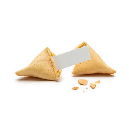 メモと白い背景で隔離のパン粉 1 つひびの入ったフォーチュン クッキー
