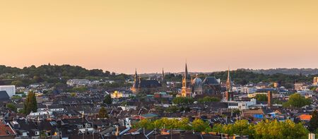 townhall: imperial city of Aachen with townhall and cathedral at sunset in Germany