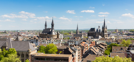 townhall: skyline view of a Aachen with townhall and cathedral in germany Stock Photo
