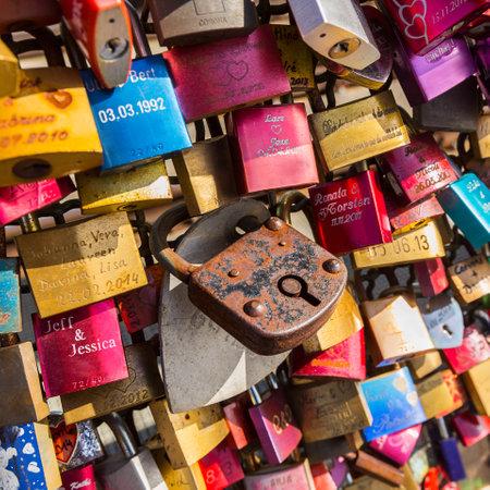 locks: loseup from love locks at the Hohenzollern Bridge in Cologne