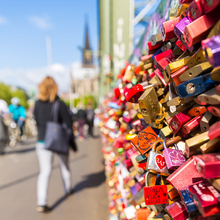 padlocks: Hohenzollern bridge with padlocks in Cologne Germany Editorial