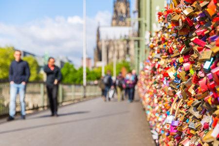 locks: Hohenzollern Bridge at Cologne with Love Locks in Germany